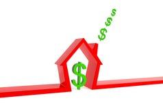 Casa rossa con i dollari Immagini Stock Libere da Diritti