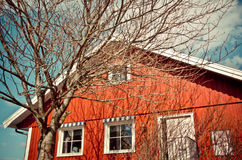 Casa rossa domestica Fotografie Stock