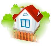 Casa rural con el jardín stock de ilustración