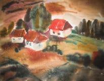 Casa rural de la acuarela en el ejemplo verde del día de verano stock de ilustración