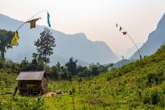 Casa rurale isolata Laos immagine stock