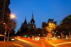 Casa 's nachts Terrades Stock Foto's