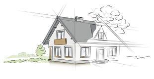 Casa separada del proyecto arquitectónico ilustración del vector