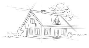 Casa separada del proyecto arquitectónico linear ilustración del vector