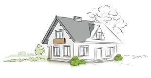 Casa separada del proyecto arquitectónico linear libre illustration