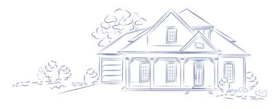 Casa separada moderna del proyecto arquitectónico linear del vector stock de ilustración