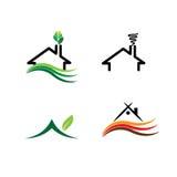 A casa simples, casas do eco ajustou - logotipos do vetor do conceito Fotografia de Stock Royalty Free