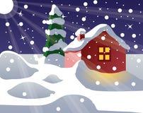 Casa Snow-covered Fotos de Stock