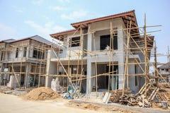 Casa sob a construção com bloco de cimento ventilado esterilizado imagens de stock