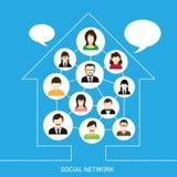 Casa social de la red ilustración del vector