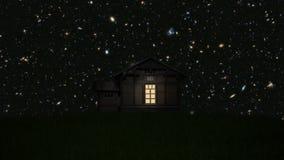 Casa sola con las estrellas y las galaxias ilustración del vector
