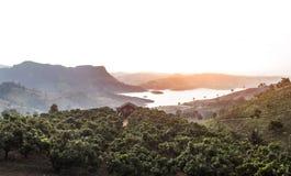 Casa sola del paesaggio sulla montagna superiore Fotografia Stock Libera da Diritti