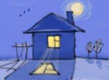 Casa sola en la medianoche Imagen de archivo libre de regalías