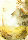 Casa sola en la niebla Fotografía de archivo
