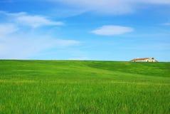 Casa solitário no campo verde. fotos de stock royalty free