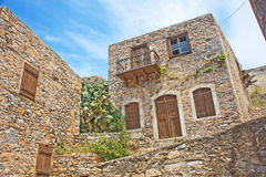 Casa storica per i lepers sull'isola di Spinalonga. Fotografie Stock