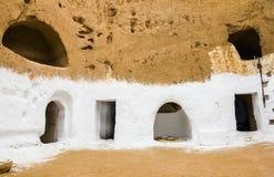 Casa subterrânea dos trogladites no deserto de Tunísia Fotografia de Stock Royalty Free