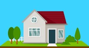 Casa suburbana con gli alberi illustrazione di stock