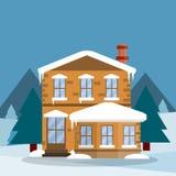 Casa suburbana Ilustração lisa dos desenhos animados ilustração stock