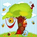 Casa sull'albero con gli animali Immagini Stock