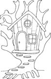 Casa sull'albero del fatato di stile di scarabocchio Fotografia Stock