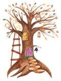 Casa sull'albero dell'acquerello per gli gnomi con le lanterne e un gufo illustrazione vettoriale