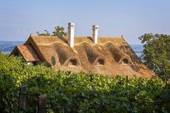 Casa típica con el tejado de lámina en Hungría imagenes de archivo