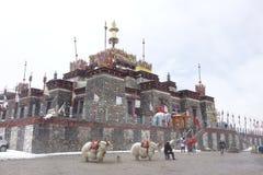 Casa tibetana en la nieve fotos de archivo libres de regalías