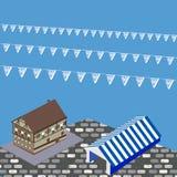 Casa, tienda y banderas bávaras para Oktoberfest en el ejemplo del vector libre illustration