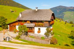 Casa tipica delle alpi italiane con il pascolo delle mucche Fotografia Stock