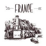 Casa tirada mão do jardim do esboço, França Ilustração de livro desenhado à mão, cartão turístico ou molde do cartaz no vetor Fotos de Stock Royalty Free