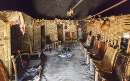 Casa tradicional interna de Dorze Vila de Hayzo, vale de Omo, Ethio Imagens de Stock