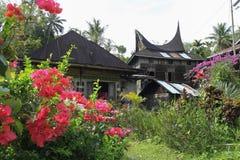 Casa tradicional Minang con la flor roja Fotografía de archivo libre de regalías