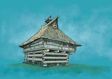 Casa tradicional Simalungun_Sumatera Indonésia ilustração royalty free