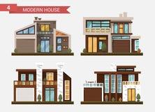 Casa tradicional y moderna del ejemplo plano del vector Domicilio familiar Edificio de oficinas Pavimento privado, patio trasero  ilustración del vector