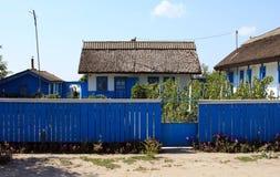 Casa tradizionale con la rete fissa dal delta del Danubio Immagini Stock
