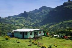 Casa tradizionale del villaggio di Navala, Viti Levu, Figi Fotografie Stock Libere da Diritti