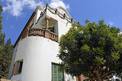 Casa Trias e Domenech in Antoni Gaudi s Park Guell, Barcelona, Spain. Casa Trias e Domenech in Park Guell, designed by Antoni Gaudi. Catalonian, garden stock image