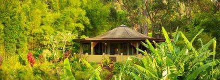 Casa tropicale nella giungla al tramonto Fotografia Stock