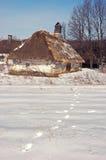 Casa ucraina di inverno Immagine Stock Libera da Diritti