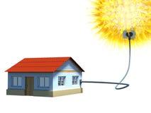 Casa usando una energía solar Fotografía de archivo