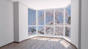 Casa vacía para el alquiler con la floración rosada de Sakura fuera de la ventana almacen de video