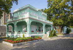 Casa variopinta di stile portoghese in taipa Macao immagine stock
