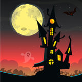 Casa velha assustador do fantasma Cartão ou cartaz de Dia das Bruxas Ilustração do vetor fotos de stock royalty free