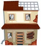 Casa velha com janelas arruinadas ilustração stock
