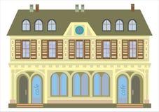 Casa velha com um café no rés do chão isolado no branco Imagens de Stock Royalty Free