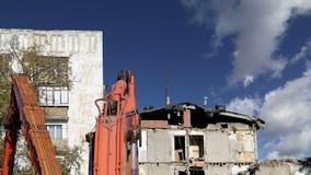 Casa velha da demolição Moscovo, Rússia video estoque
