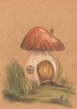 Casa velha do cogumelo fantástico fotografia de stock