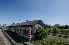 casa velha do trem Imagem de Stock