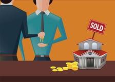 A casa vendeu a ilustração de Real Estate Casa com moedas Fotografia de Stock